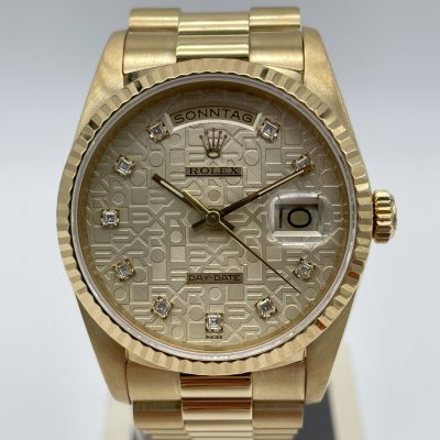 Rolex Day-Date 18238 Jubilee 'Rolex' Dial Diamonds Box Papers 1989 LC 100